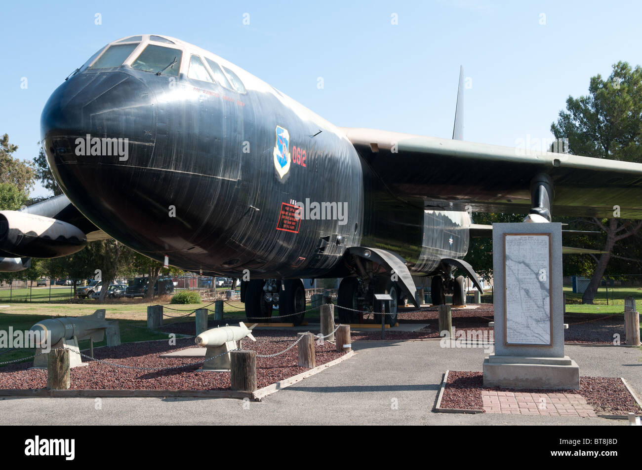 A B-52 bomber plane on display at the Castle Air Museum, Merced California USA. - Stock Image