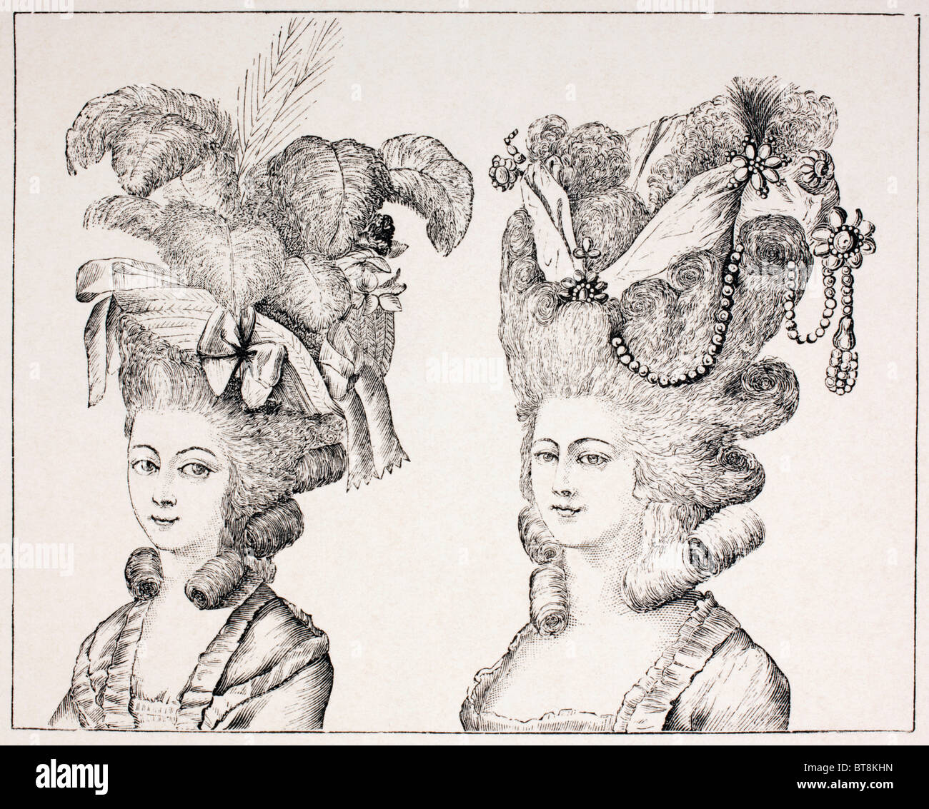 18th century French girls wearing extravagant hair styles and hats. - Stock Image