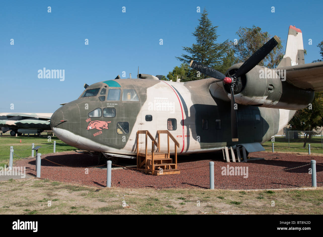 A C-123 Cargo plane at the Castle Air Museum, Merced California USA. - Stock Image