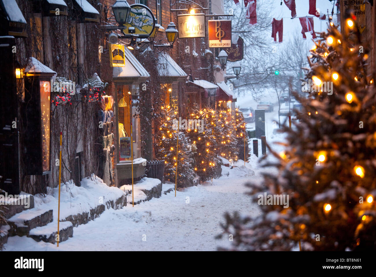 rue du petit champlain in lower old quebec city canada stock image