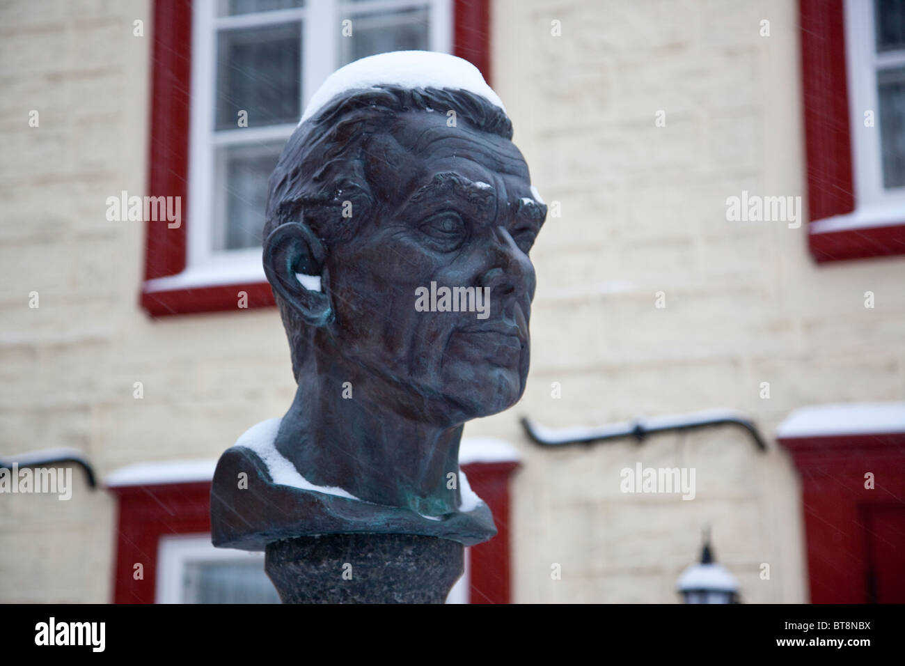 Bust of Le Peintre Jean Paul Lemieux in Old Quebec City, Canada - Stock Image