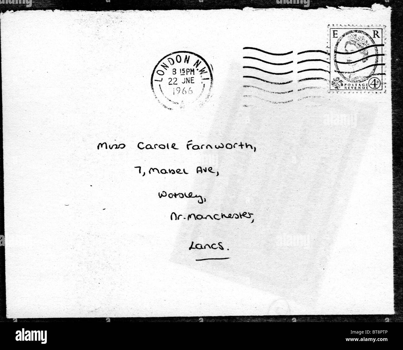 ROLLING STONES  Envelope for letter to fan 22 June 1966 written by Keith Richards - Stock Image