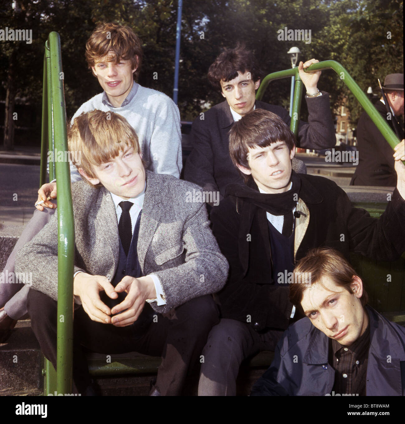 ROLLING STONES on London Embankment 1963. Clockwise from top l: Mick, Bill, Keith, Charlie (lower) and Bill. Photo - Stock Image