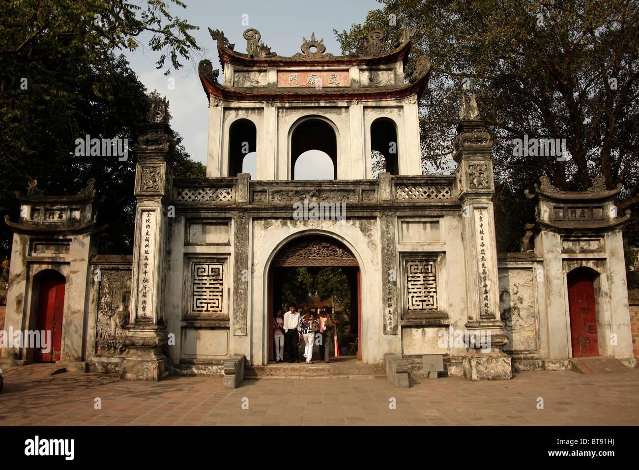 Portal to the Temple of Literature Van Mieu, Hanoi, Vietnam, Asia - Stock Image