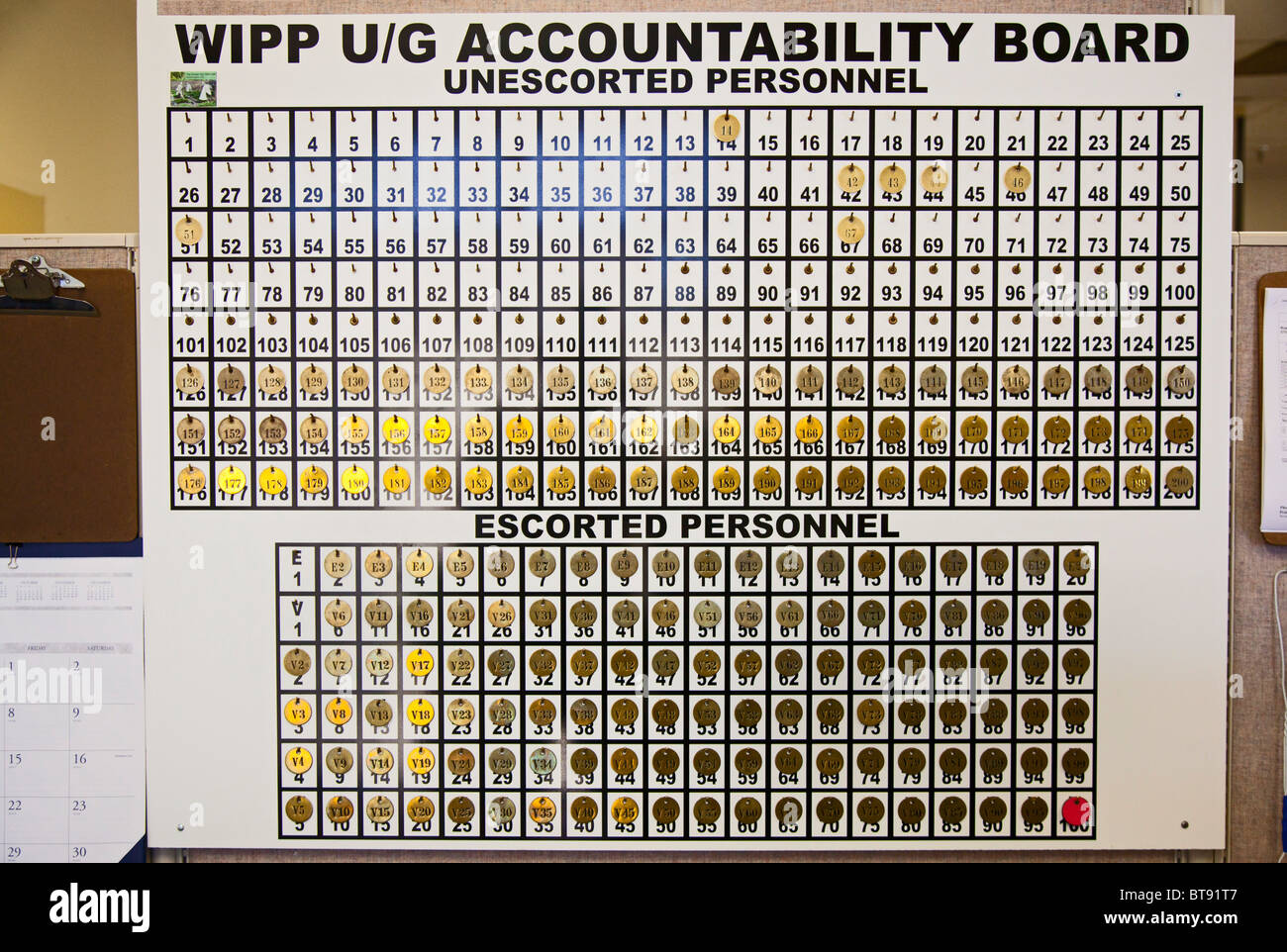 Underground Accountability Board at Nuclear Waste Storage Facility - Stock Image