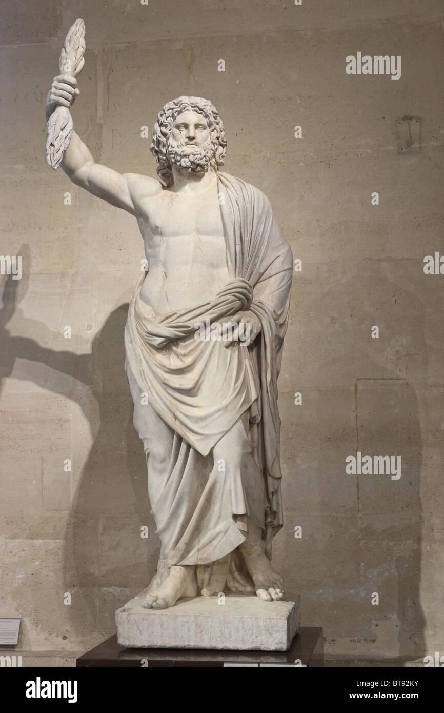 Jupiter de Smyrne Jupiter of Smyrna Statue Louvre Museum Paris - Stock Image