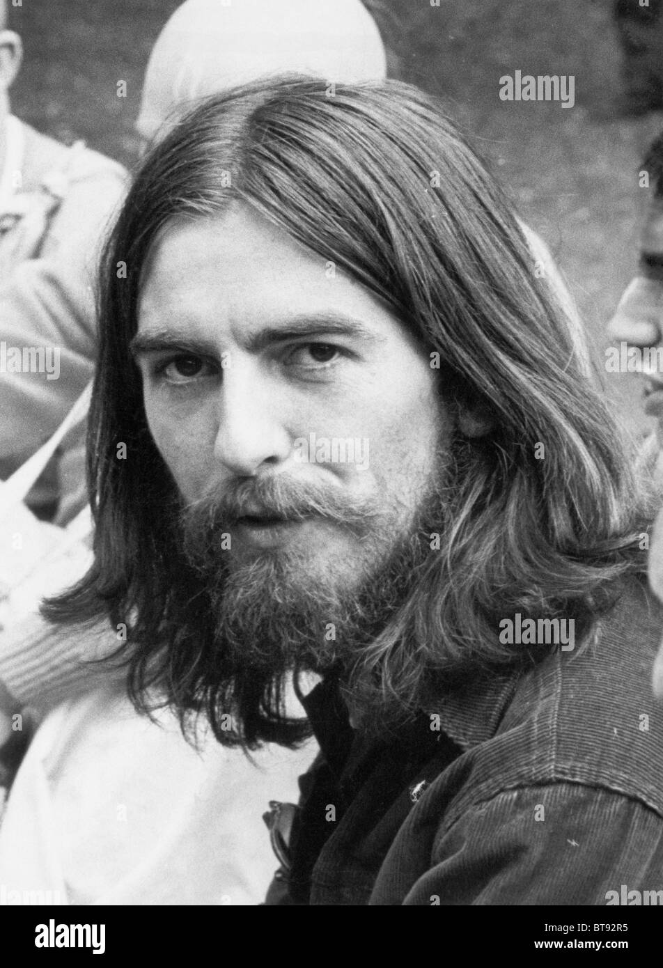 George Harrison of The Beatles pictured at Krishna Temple meeting in London, Thursday 28th August 1969. - Stock Image