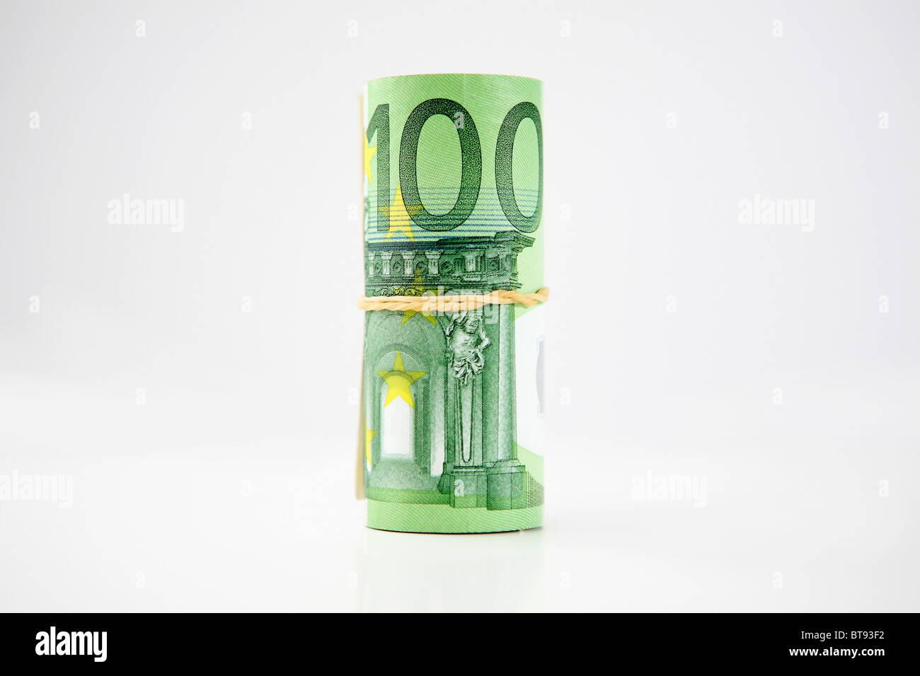 Wad of banknotes, 100 Euros - Stock Image