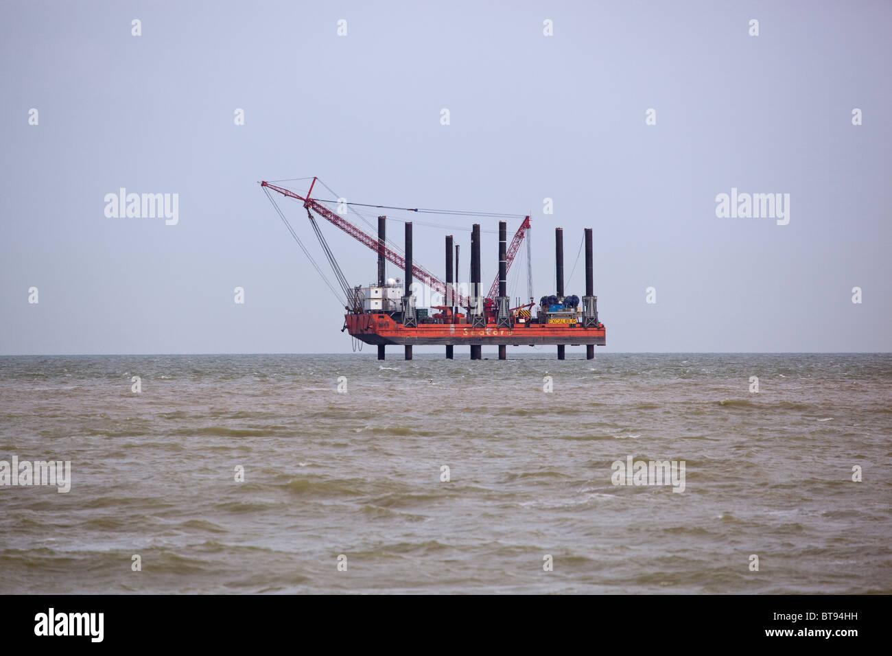 Seacore Excalibur Platform off the coast at Ramsgate Kent - Stock Image