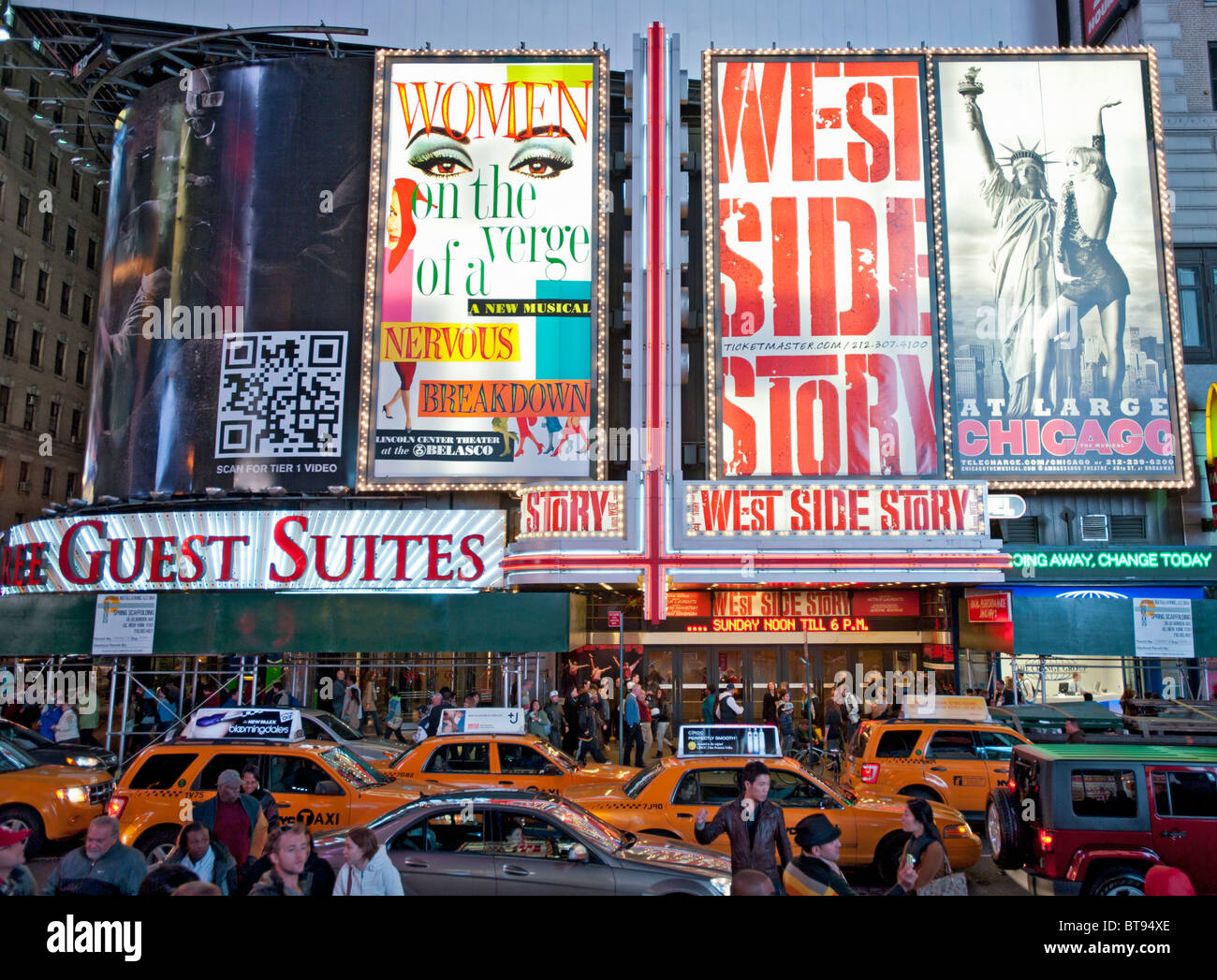 Times Square on Broadway in the evening on Manhattan Island New York City USA - Stock Image