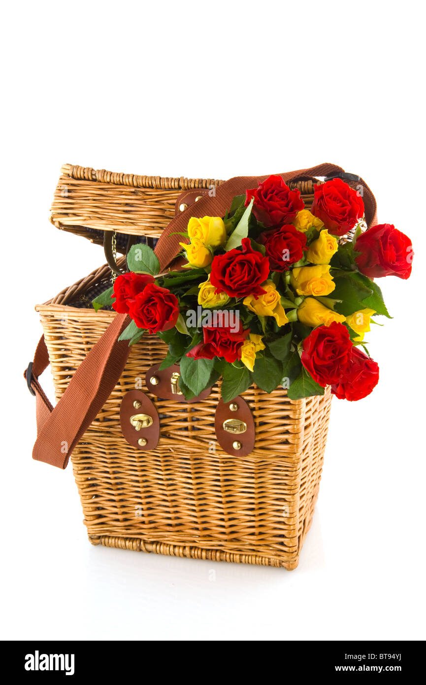 Bouquet Red And Yellow Roses In Picnic Basket Stock Photo Alamy