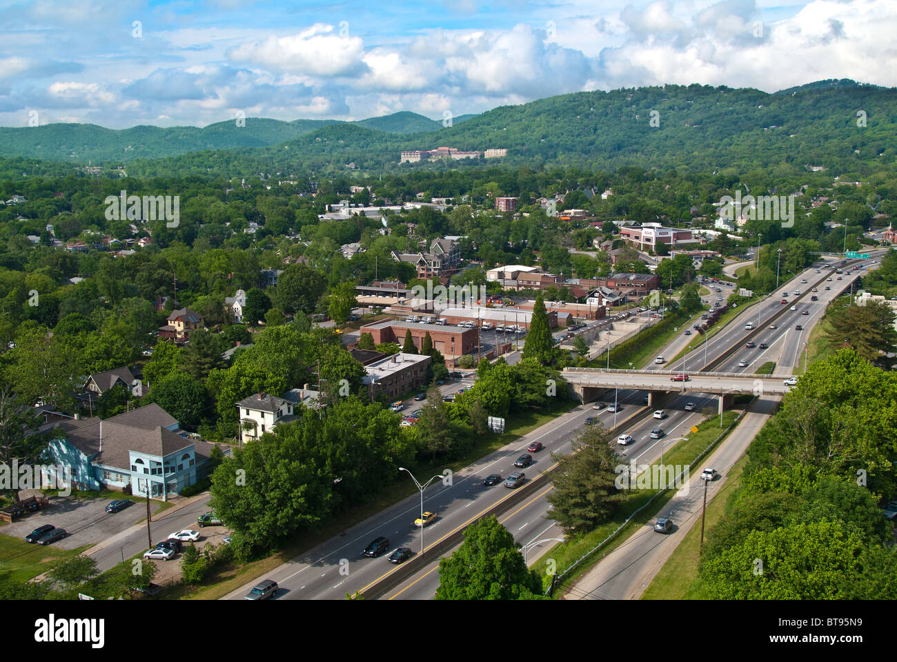Overview of I-240 freeway and neighborhoods of Asheville, North Carolina, USA - Stock Image