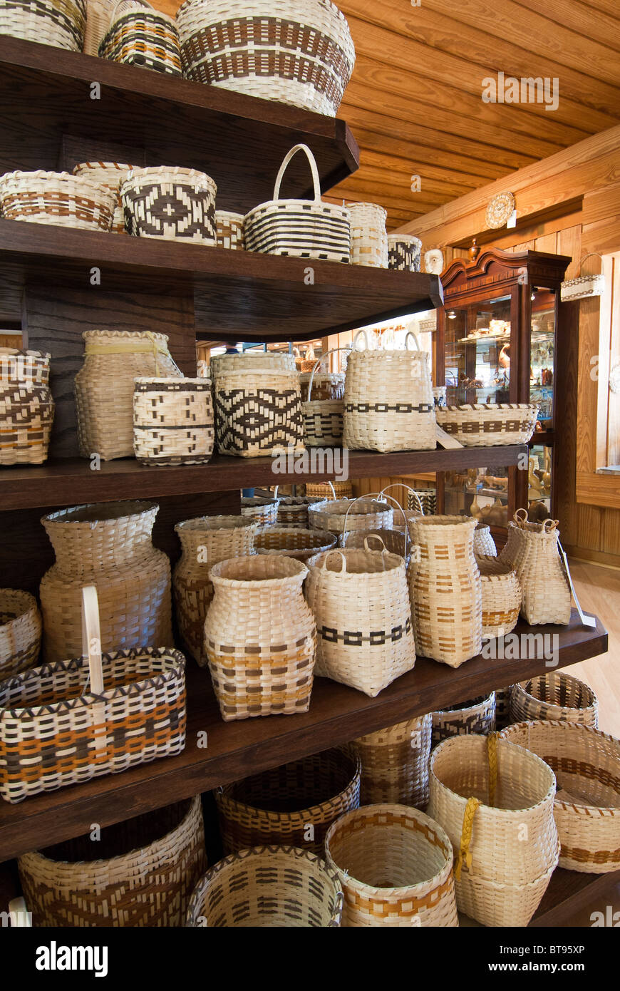 Cherokee Indians best known handicrafts are their river cane, white oak, maple and honeysuckle baskets, Cherokee, - Stock Image