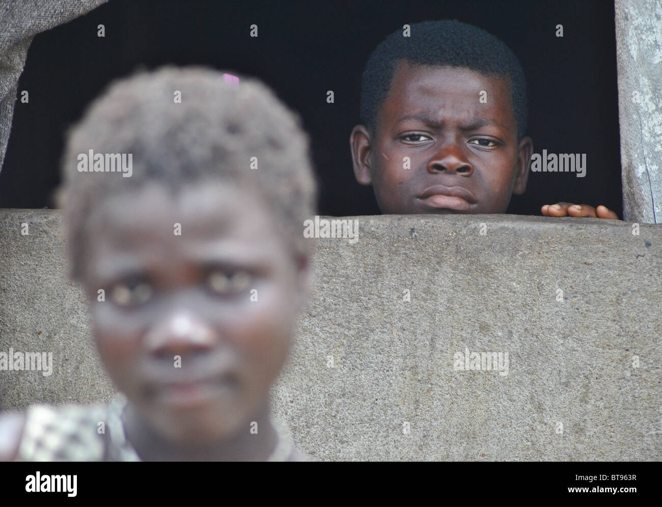 Liberian refugees in Tabou Transit Camp, Ivory Coast, West Africa - Stock Image
