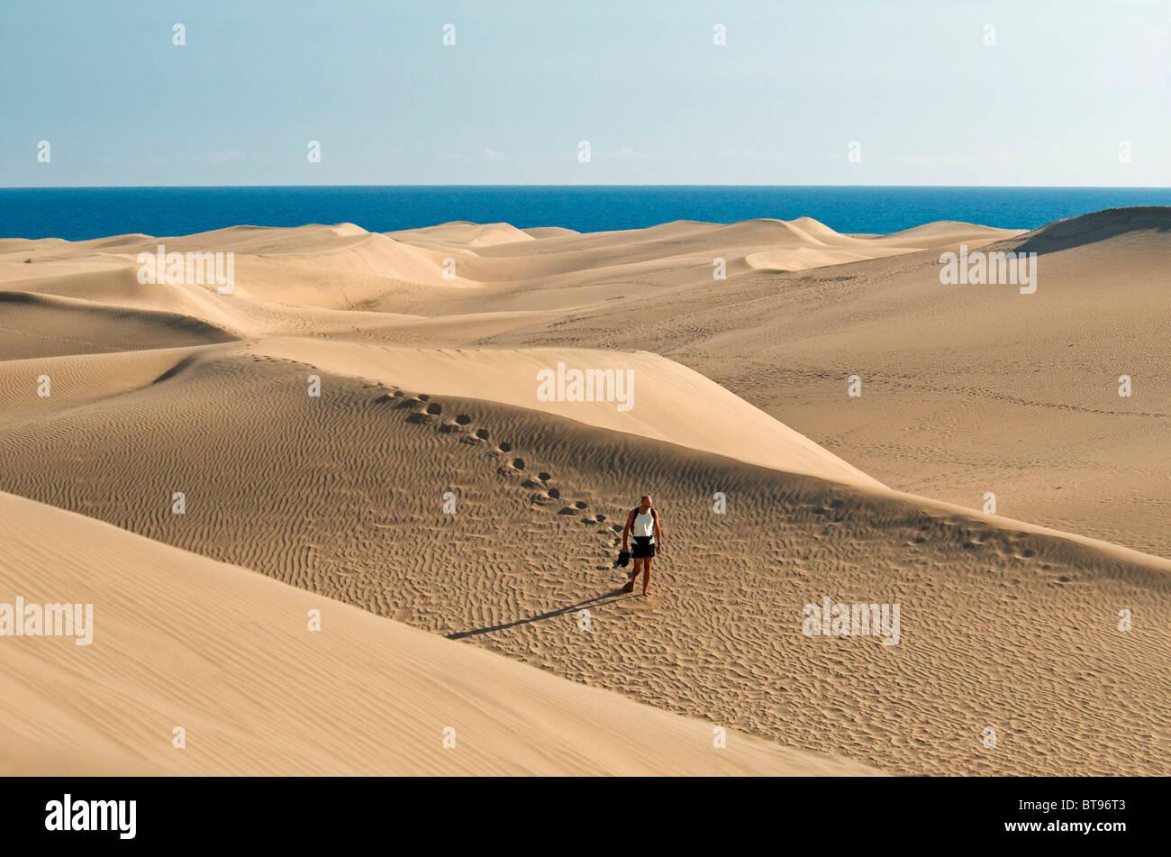 Sand dunes of Maspalomas, Gran Canaria, Canary Islands, Spain, Europe - Stock Image