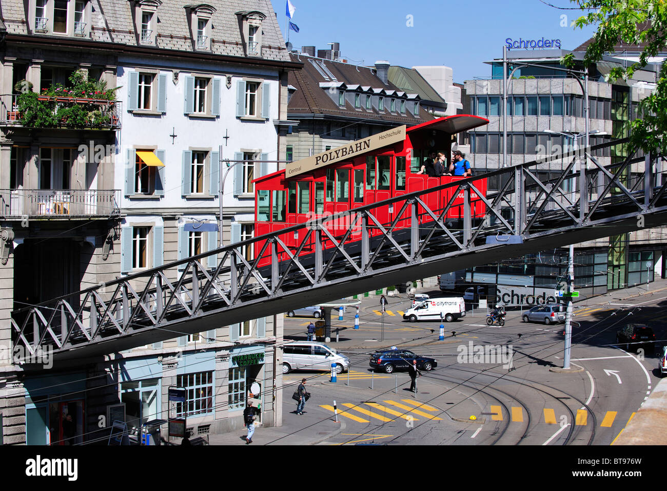 Polybahn crossing the street from Central Square to the University, Zurich, Switzerland, Europe Stock Photo
