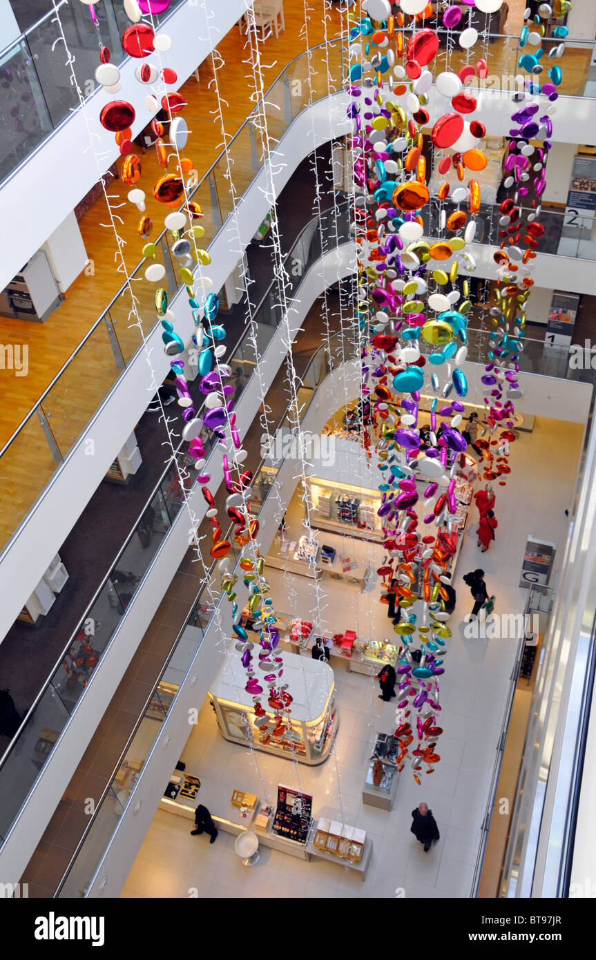 John Lewis flagship retail business Oxford Street department store interior shopping floors and Christmas decorations Stock Photo