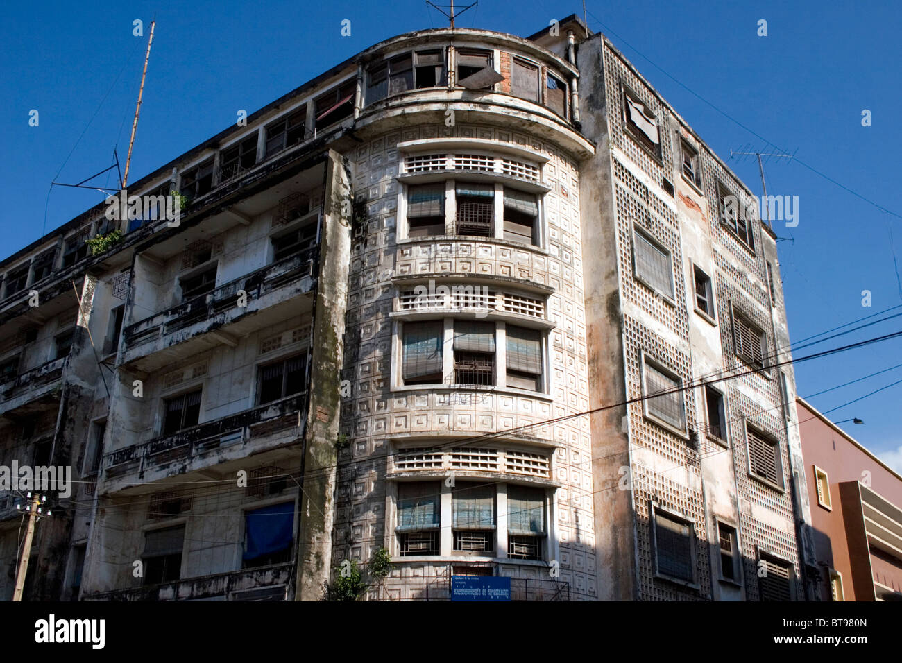 An Old Rundown Apartment Building Is Part Of The Urban Landscape In Phnom Penh Cambodia