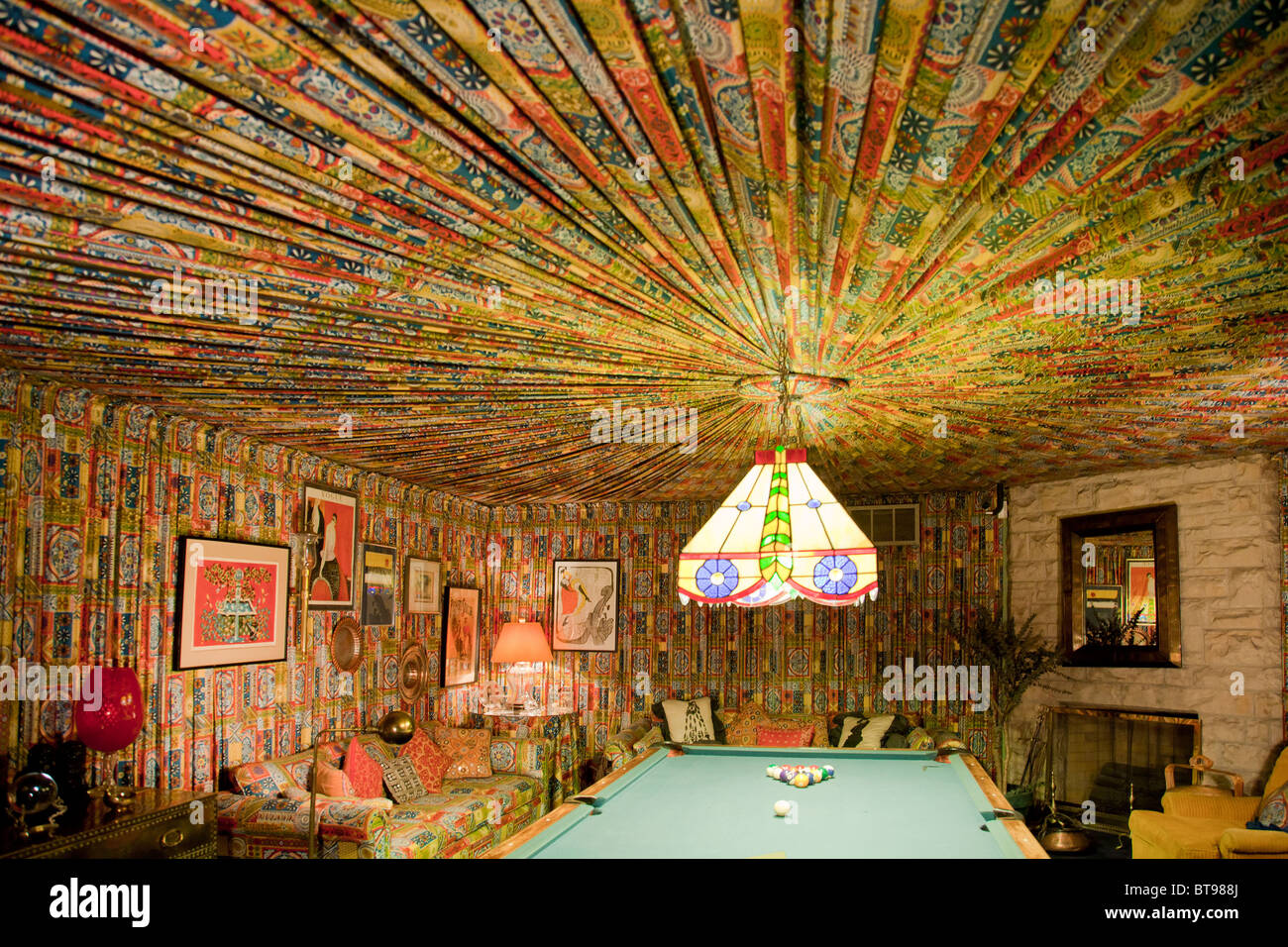 Elvis Presley's fabric-lined pool room at Graceland, Memphis, Tennessee, USA - Stock Image