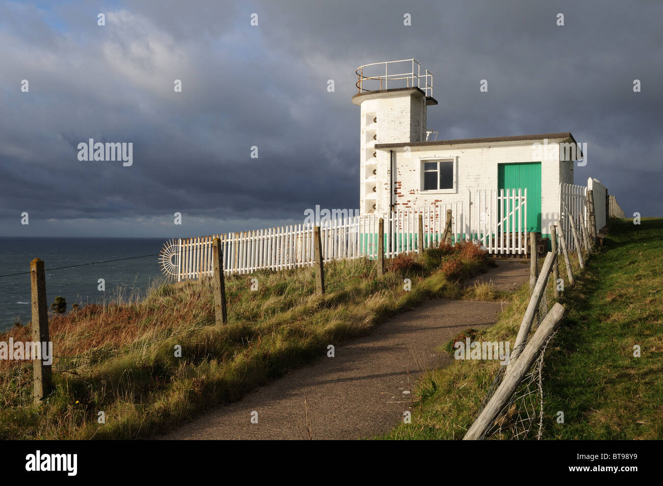 St Bees Head Fog Horn Fleswick Bay Cumbria England UK GB - Stock Image