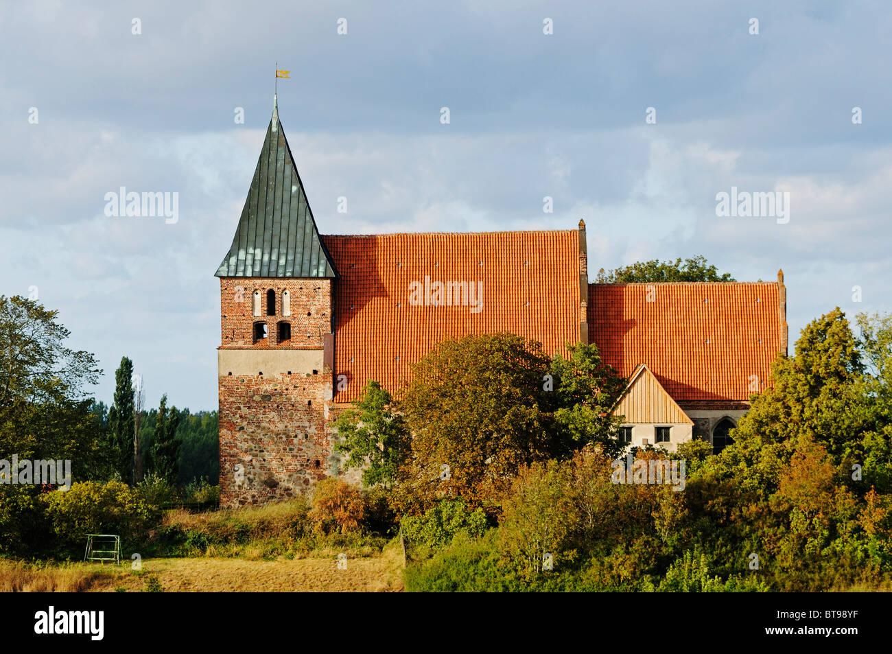 St. Paul church, oldest stone church on Ruegen, Bobbin village, Jasmund peninsula, Ruegen Island, Mecklenburg-Western - Stock Image