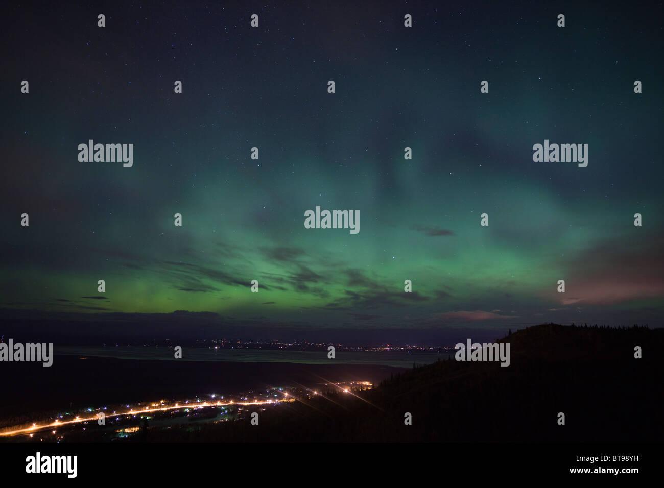 Northern lights over Matanuska-Susitna Valley, Alaska - Stock Image