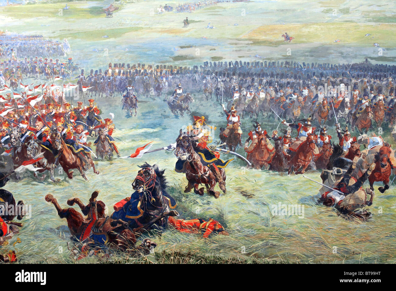 Canvas painted by Louis Dumoulin in 1912 depicting the Battle of Waterloo housed in the Panorama building, Waterloo, - Stock Image