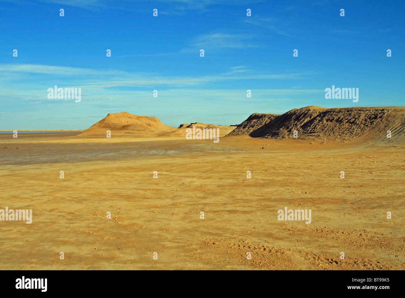Landscape of the Chott El Gharsa, Sahara Desert, near Tozeur, western Tunisia - Stock Image