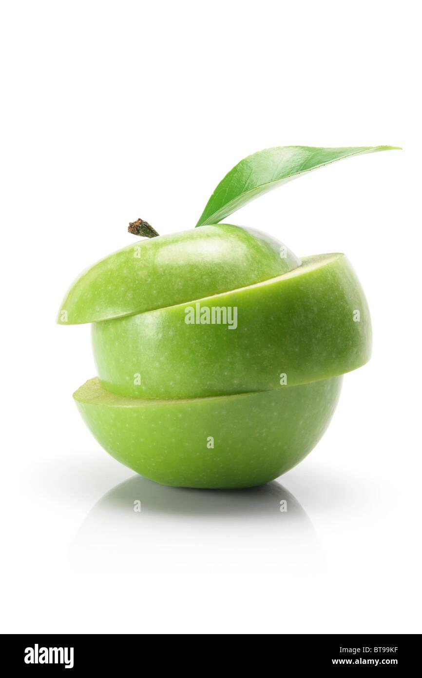 Sliced Granny Smith Apple - Stock Image