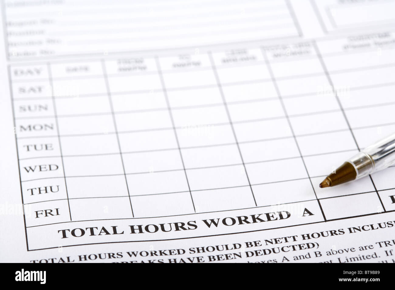 total hours worked on a weekly timesheet for a temping employment agency