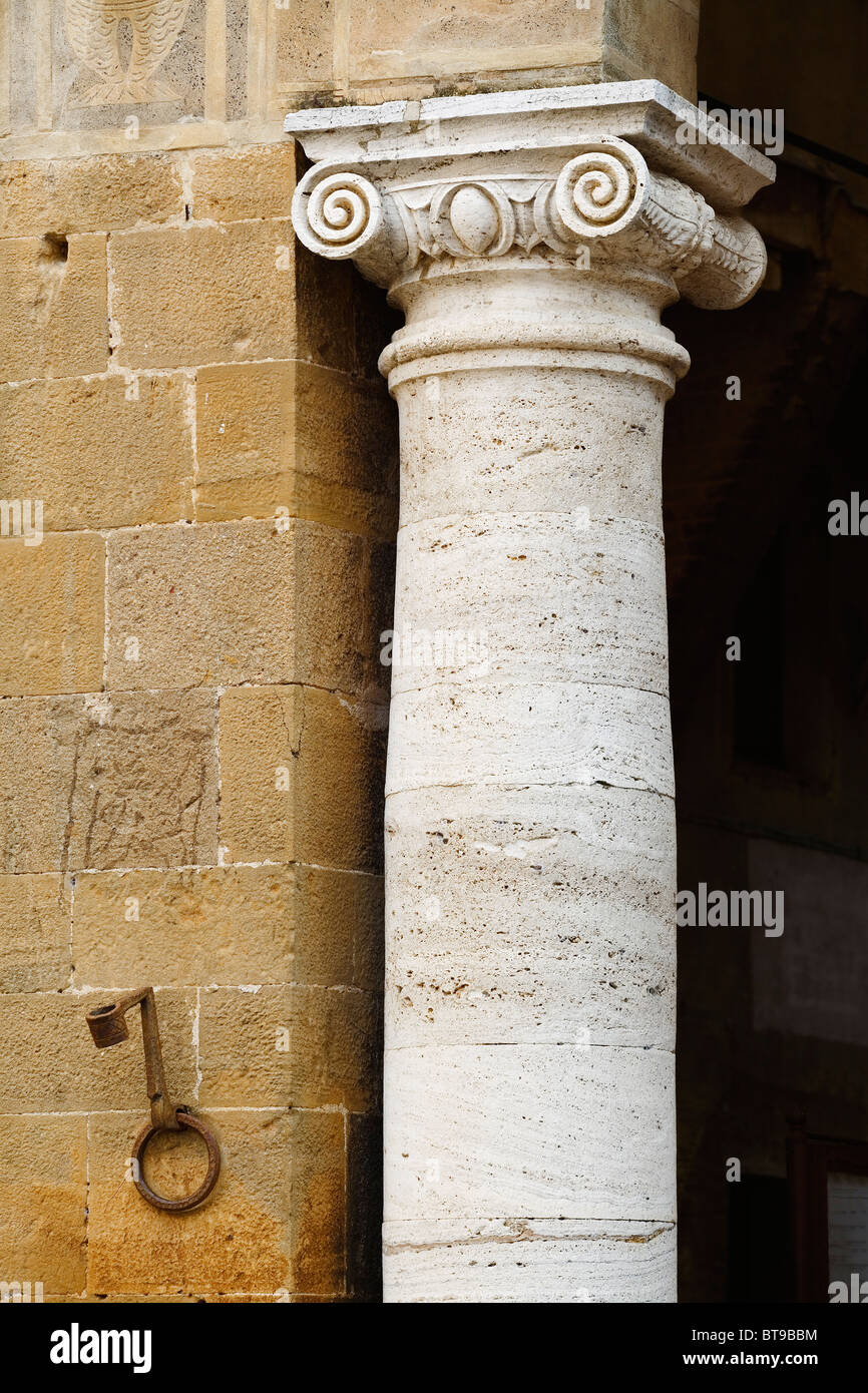 Pienza, Roman column / pillar - Ionic Capitol -  Tuscany, Italy - Stock Image