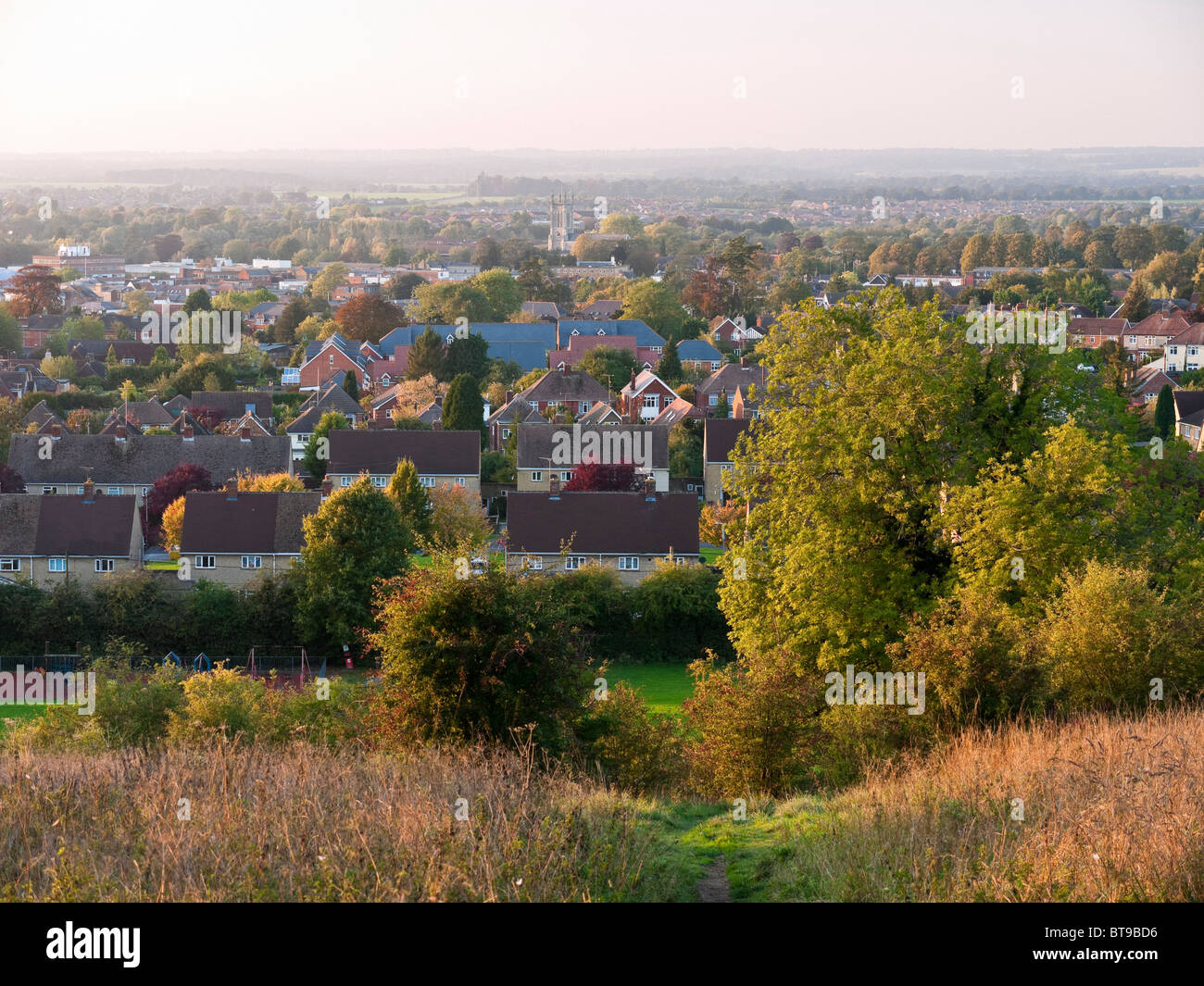 View over Andover from the Lady's Walk footpath in Hampshire - Stock Image