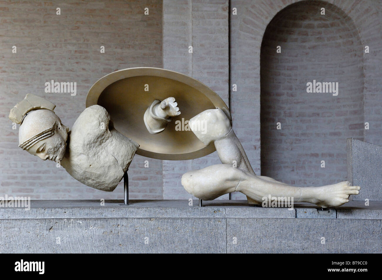 Figure from the east pediment of the Temple of Aegina, about 500 BC., Glyptothek museum, Munich, Bavaria, Germany, - Stock Image