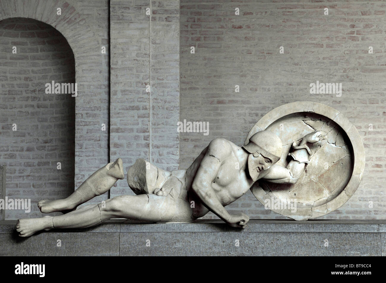 Troian king Laomedon from the east pediment of the Temple of Aegina, Glyptothek museum, Munich, Bavaria, Germany, - Stock Image