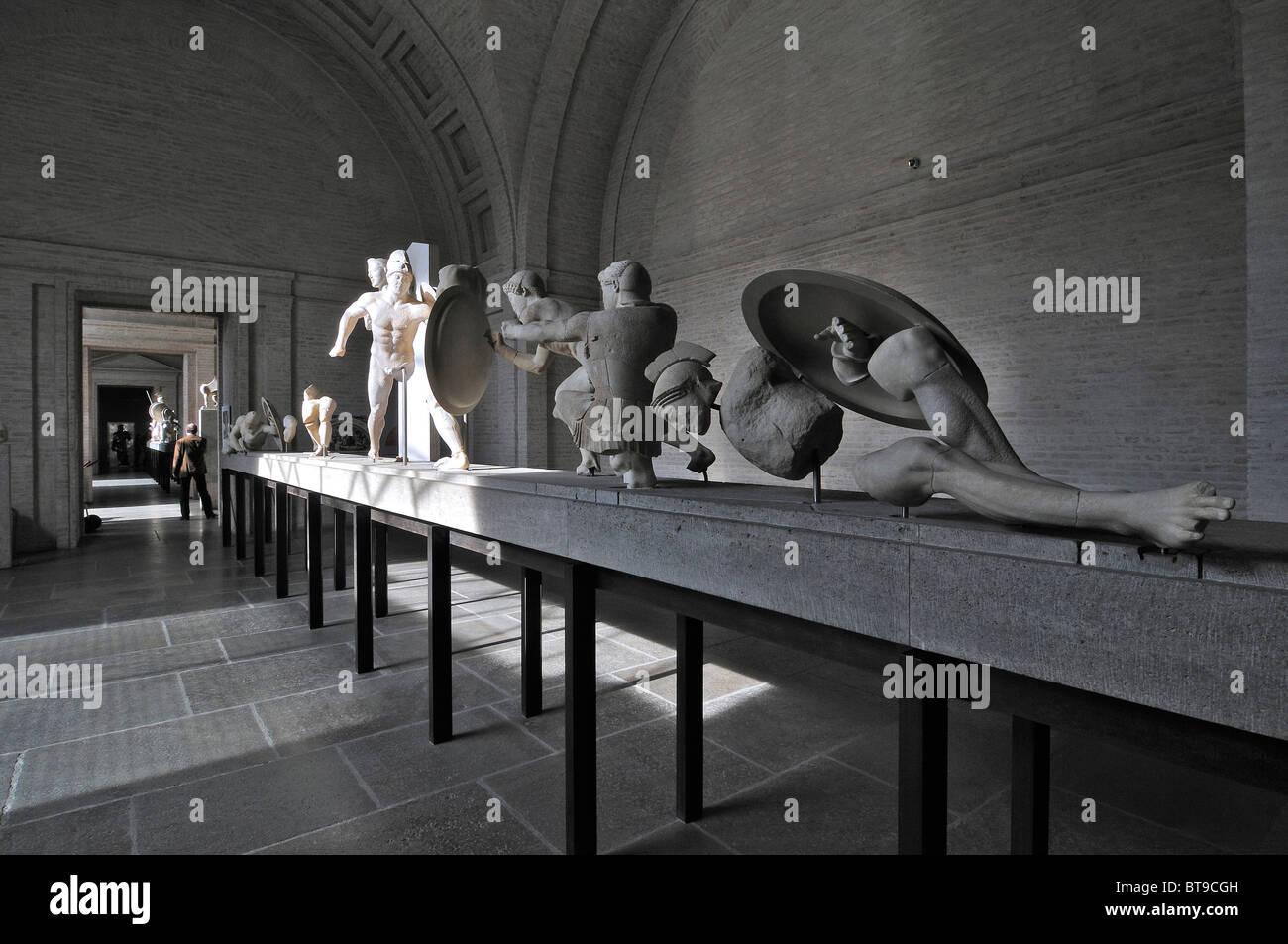 East pediment of the Temple of Aegina, circa 500 BC., Glyptothek museum, Munich, Bavaria, Germany, Europe - Stock Image