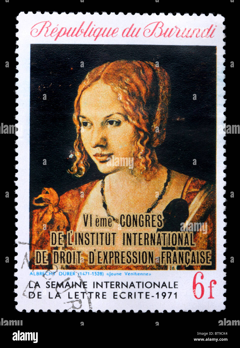 "A stamp printed in Republic Burundi shows a picture by Albrecht Durer ""Portrait of a Young Venetian Woman"", circa - Stock Image"