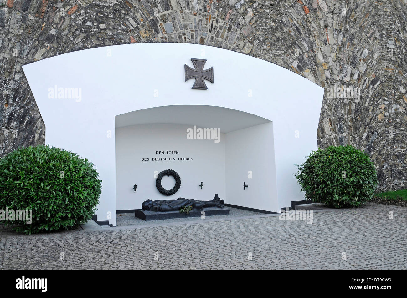 Iron Cross, war decorations, medals, casualties of the Army, War Memorial, Ehrenbreitstein Fortress, Koblenz - Stock Image