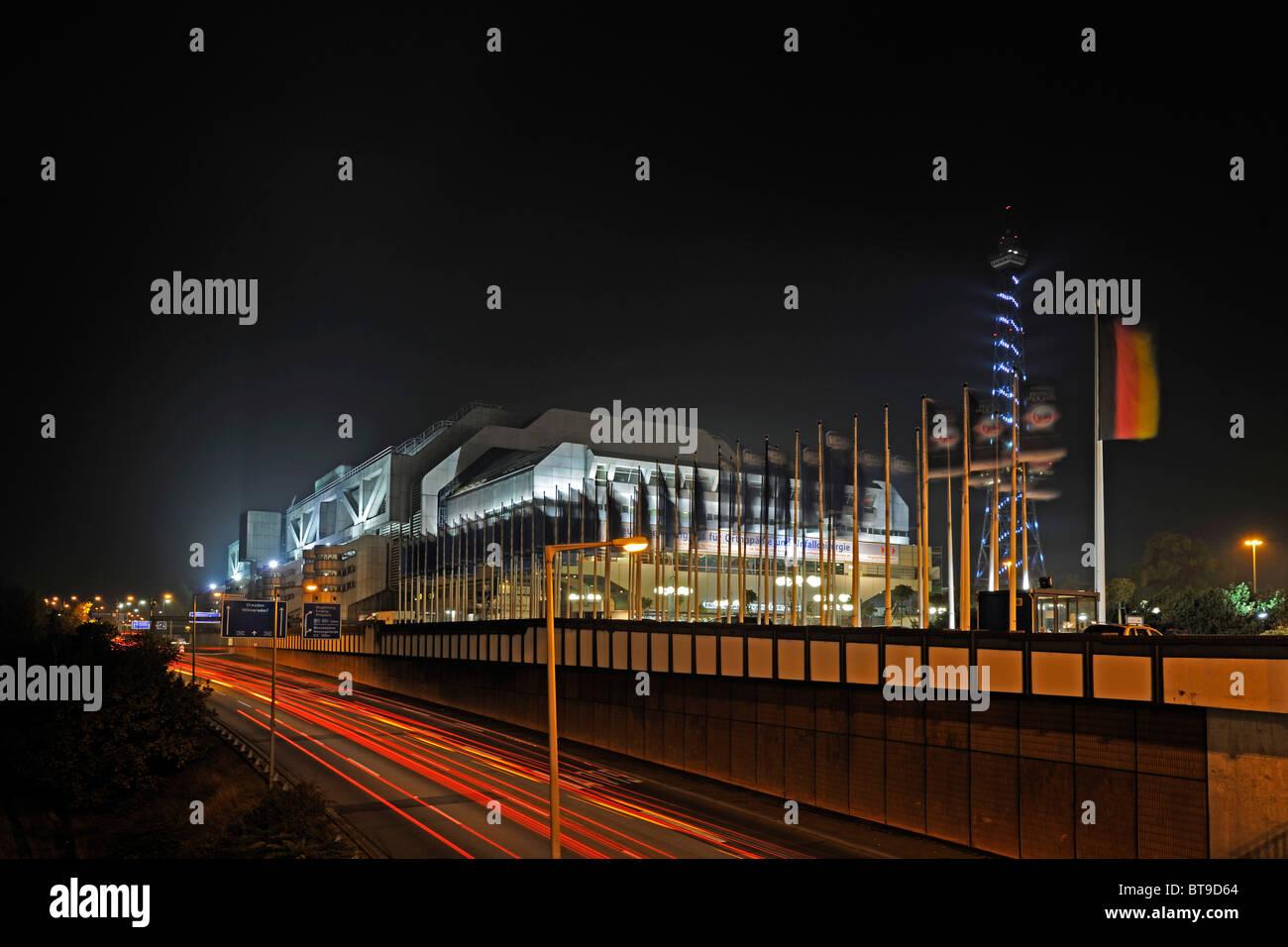 International Congress Center, ICC, night scene, Berlin, Germany, Europe - Stock Image