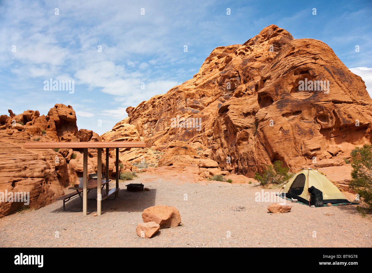 Camping In The Valley Of Fire State Park Nevada Usa Stock Photo Alamy