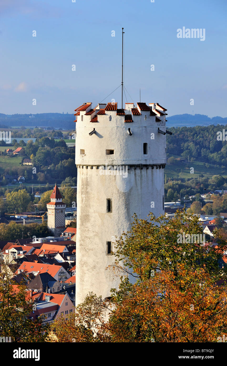The landmark of Ravensburg city, the 51-meter-high white tower at St. Michael, also called Mehlsack, bag of flour - Stock Image