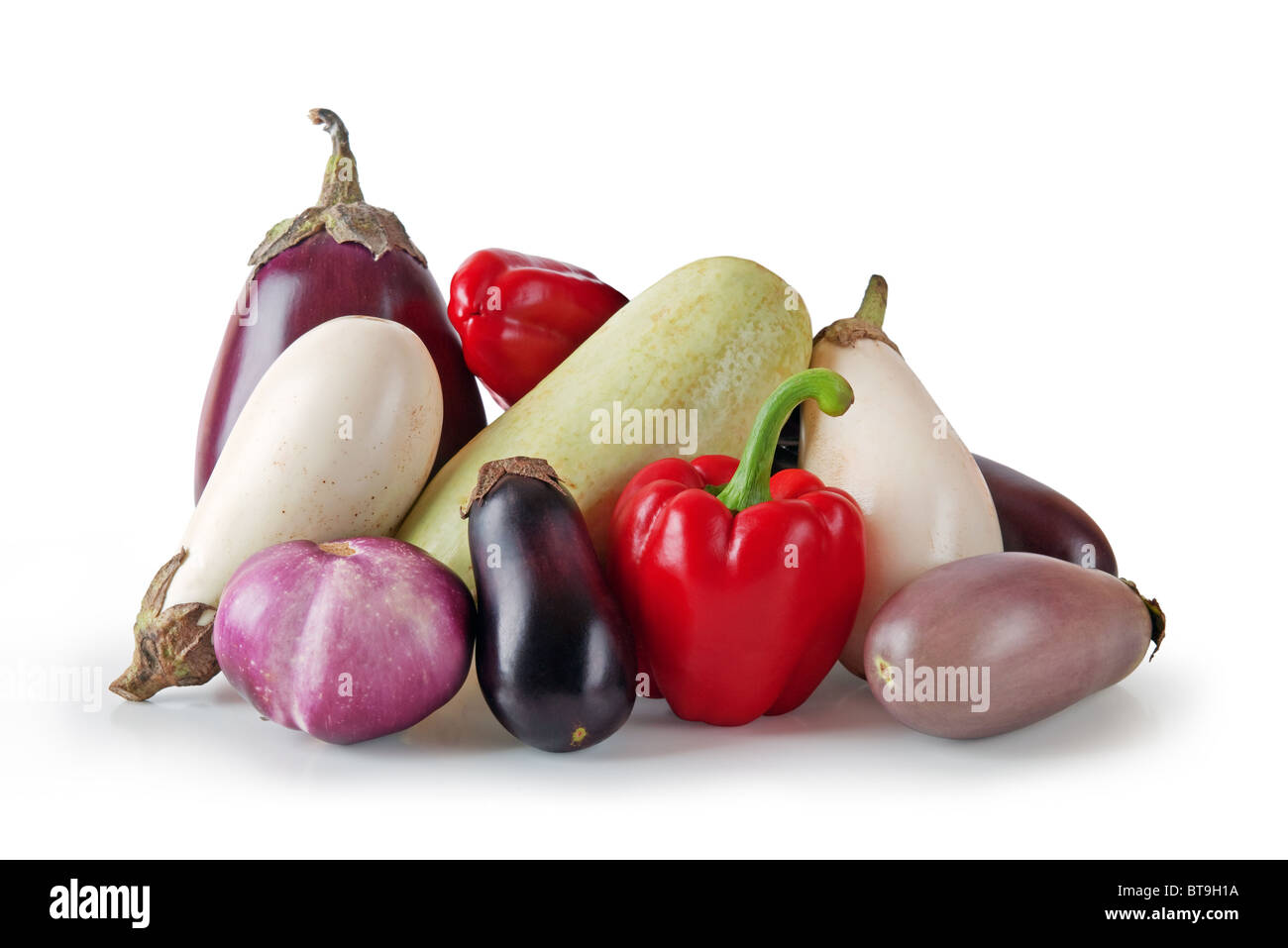 Assorted vegetables on white background Stock Photo
