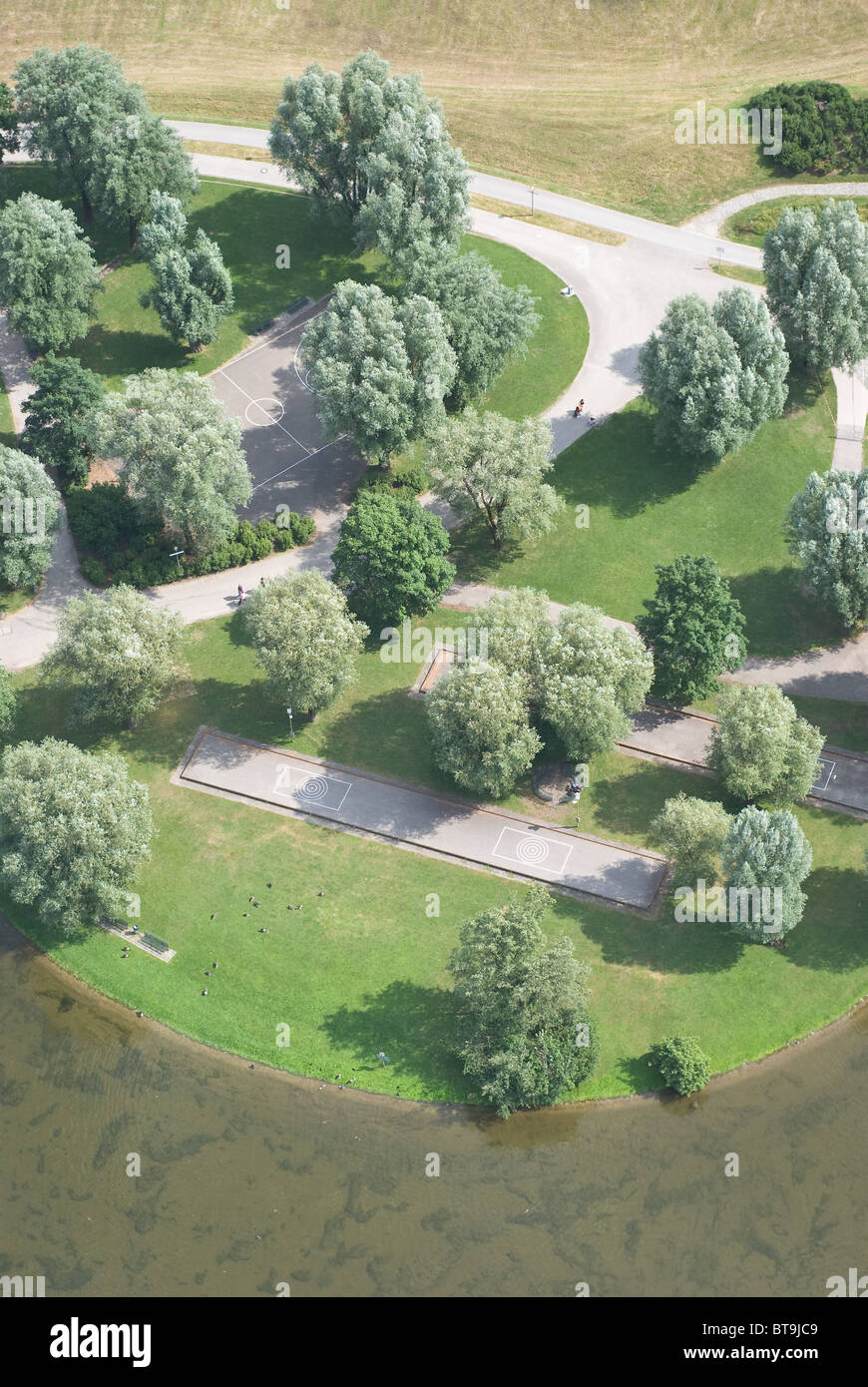 Aerial View of Recreational Park as Symbol of Urban Planning - Stock Image