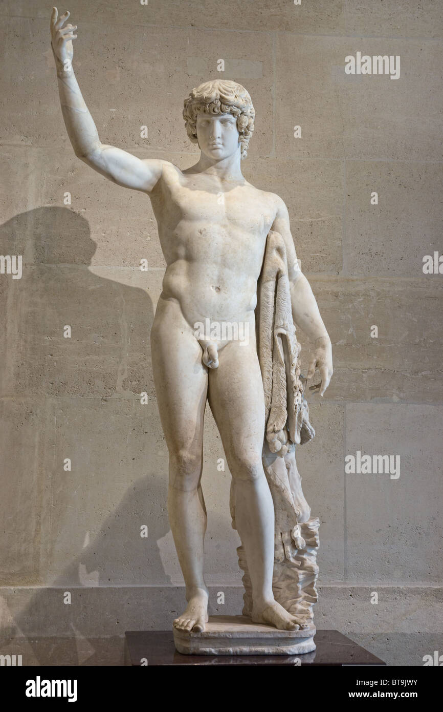 Antinous Statue marble Braschi collection Louvre Museum - Stock Image