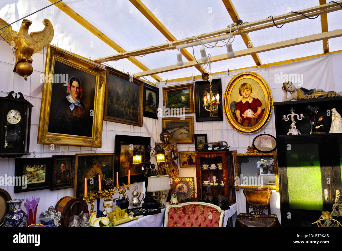 Paintings and knick-knacks, Auer Dult fair, Munich, Bavaria, Germany, Europe - Stock Image