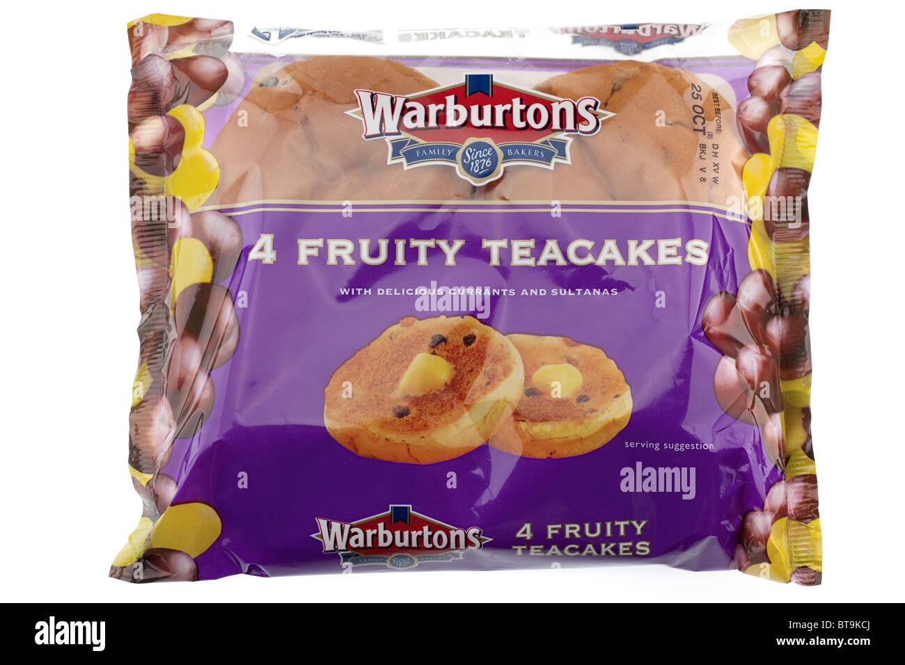 Cellophane packet of Warburton's 4 fruity teacakes - Stock Image