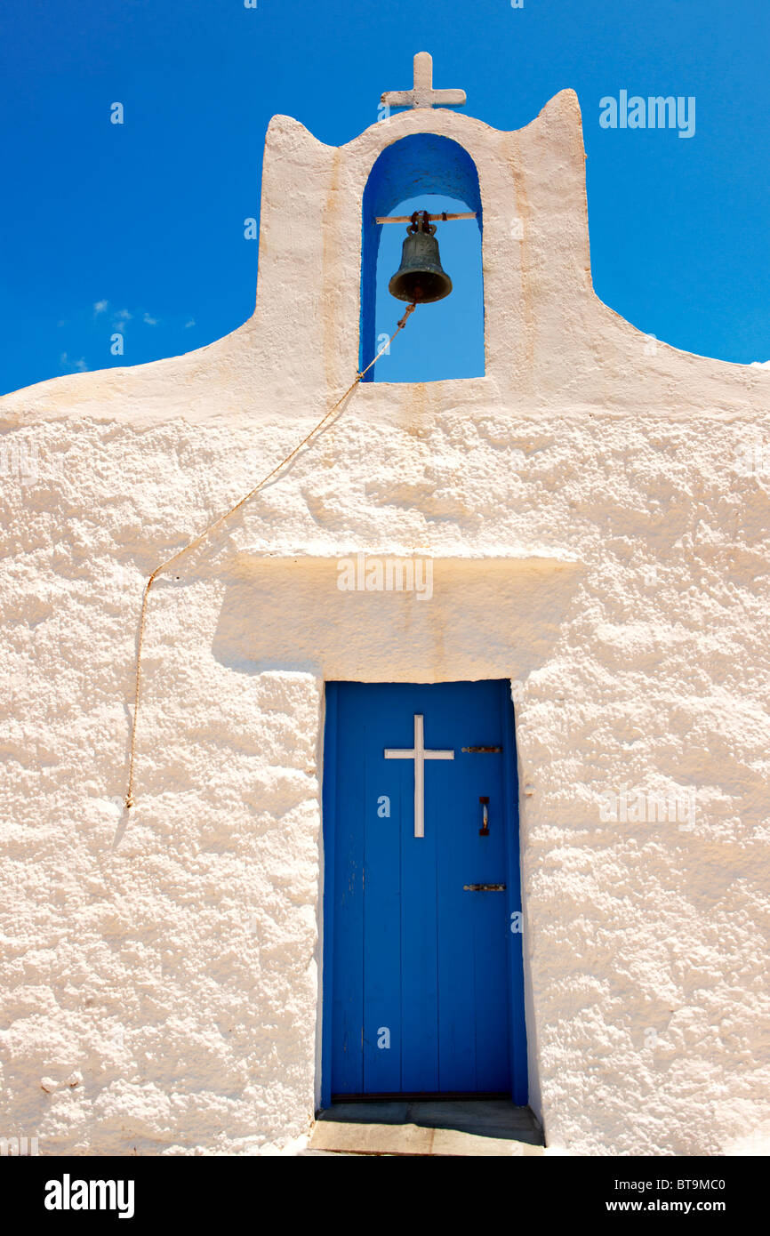 One of the 365 traditional white Orthodox chaples on Ios, Cylades Islands, Greece Stock Photo