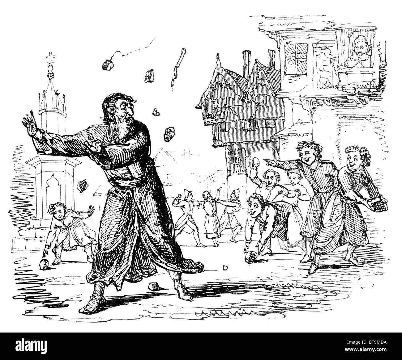 Stoning Jews in Lent; 13th century; Black and White Illustration from William Hone's Everyday Book - Stock Image