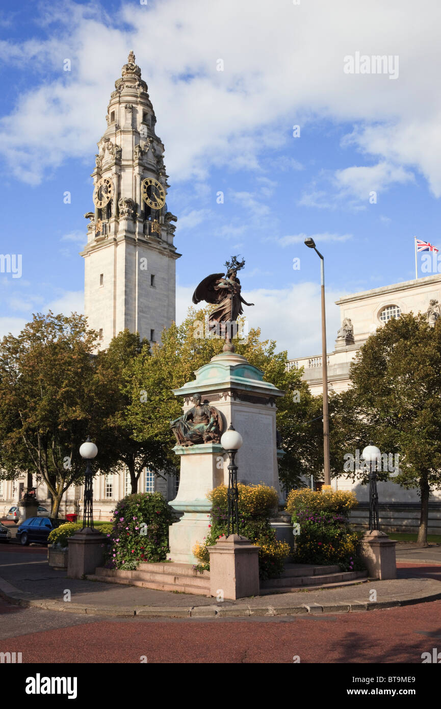 South African Boer war memorial statue and City Hall clock tower Cathays Park, Cardiff, South Glamorgan, South Wales, - Stock Image