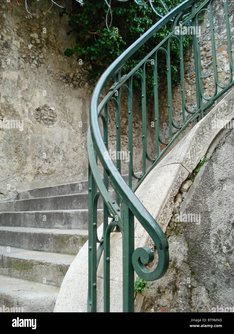 Cast Iron railing, on external stair case, Neoclassicism in style, Nice France - Stock Image