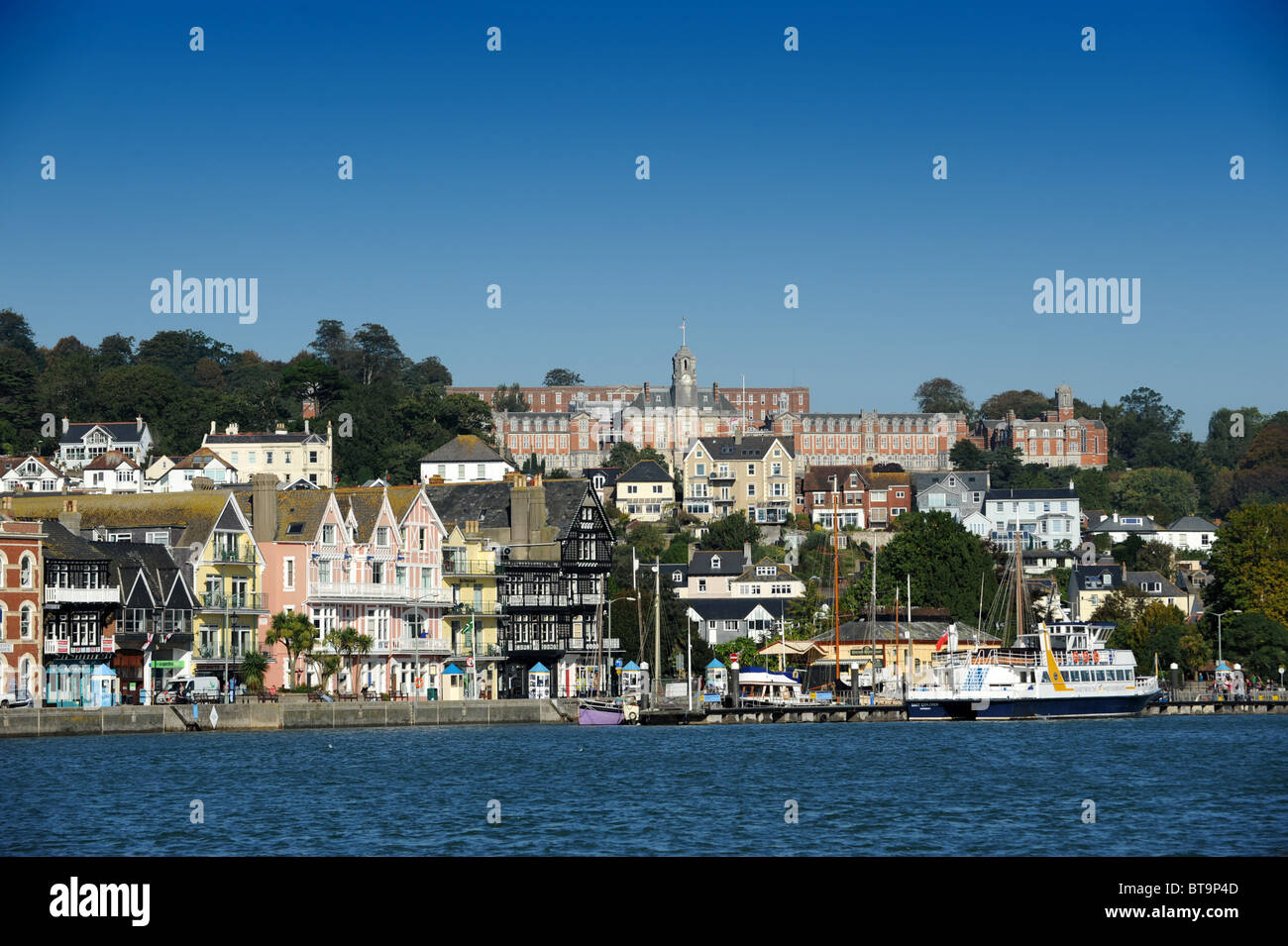 Dartmouth Devon Uk with Naval College at top Stock Photo